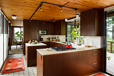 mid-century modern kitchen with quartz countertop
